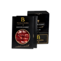 ONE BENITO FIELD-FATTENED IBERIAN  SHOULDER - HAND-SLICED IN 100G PACKAGES.PACK 20 UNID. SELECTION GOURMET