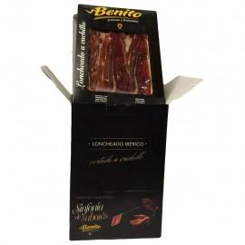 Whole Benito Black Hoof Iberian cured ham, hand-sliced in 100g packs.